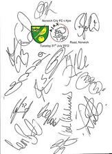 31.07.12 Norwich City v Ajax, signed by 15 members of the Norwich City Squad