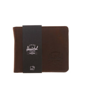 HERSCHEL SUPPLY CO. Leather Bifold Wallet Treated Inner ID Mesh Window Pocket