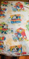 Vintage Mickey Minnie Mouse Disney County Fair Carnival Twin Size Flat Sheet