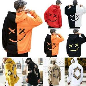 Men Hoody Long Sleeve Sweatshirt Hip-Hop Loose Casual Pullover Tops Oversized