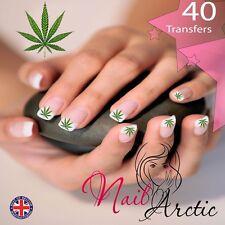 NAIL Wraps Verde Foglia di Cannabis trasferimenti d'acqua Decalcomania Arte Adesivi x 40