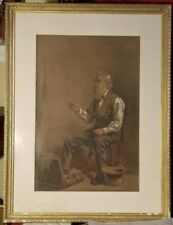 Museum Quality American Watercolor-1878-Hugh Newell-The Notions Peddler-Rare