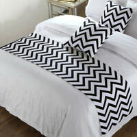 Black White Stripe Bed Runner Single Double King Home Hotel Bedding Tail Flag