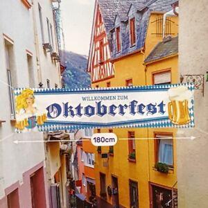 Flagge Fahne bayerische Oktoberfest Straßen-Banner 180x40 cm Bayern Deko #1492