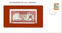 Banknotes of All Nations Oman 100 baisa 1977 with stamp UNC