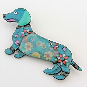 Dachshund Sausage Dog Pet Blue Floral Enamel Metal Animal Jacket Brooch Pin Gift