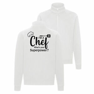 Fun Sweat Jacke weiß Chef Superpower Grillen Koch Gourmet Essen BBQ Chefkoch