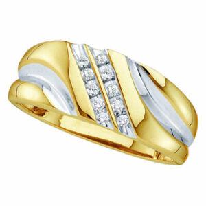 10k Yellow Gold Mens Round Diamond 2-tone Wedding Anniversary Band Ring 1/8 Ctw