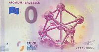 BILLET 0  EURO ATOMIUM BRUSSELS 2  2018  NUMERO 10000 DERNIER
