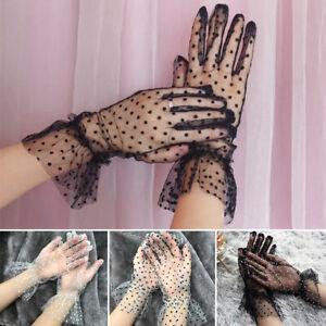 Retro Women Ladies Lace Gloves Polka Dot Short Long Dress Elegant Wedding Gloves