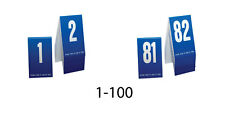 Plastic Table Numbers 1-100- Blue w/ white number, Tent style, Free shipping
