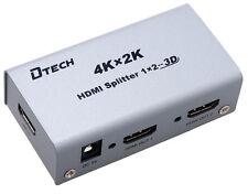 DTECH 4K x 2K HDMI Splitter 2 Ports 3D TV Dual Display 2-Way Repeater Metal Box