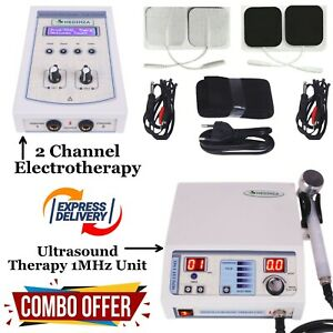 Combo Ultrasound Therapy 1MHz Machine 2 Channel Electrotherapy Pain Relief Unit