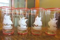 Set (4) Antique Glass Tumblers with Applied Enamel ANTIQUE SHIPS, Red Trim