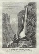Stampa antica LAUTERBRUNNEN Cascata Staubach Oberland 1872 Old Antique print