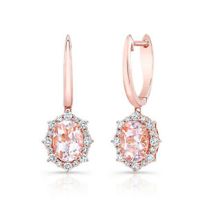 14k Rose Gold Oval Morganite Diamond Starburst Drop Earrings 1.91 TCW Natural
