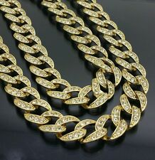 MENS FULLY ICED OUT HIP HOP 14K GOLD FINISH MIAMI CUBAN LINK CZ CHAIN NECKLACE