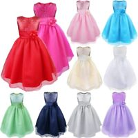 Girls Baby Sequin Flower Tutu Dress Party Bridesmaid Princess Wedding Prom Gown