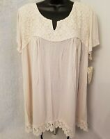 One World NWT Womens Natural Color Floral Lace Shirt Top Blouse Size 2X