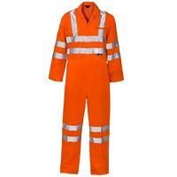 Supertouch Orange Hi Vis Visibility Polycotton Mens Work Overalls Boiler Suit