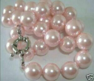 Fashion 8mm Pink Shell Pearl Round Gemstone Beads Necklace 18""