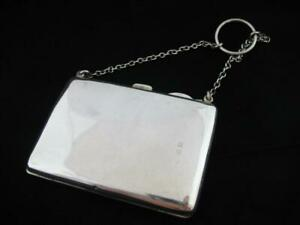 Antique Silver Card Case  Finger Ring Chain  Hallmarked 1913  Henry Williamson
