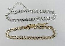 Wholesale Jewelry Lot 12 PCS RHINESTONE  Anklets Ankle Bracelets Gold Silver Mix