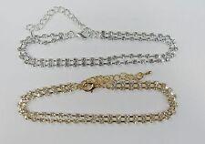 Wholesale Bulk Lot 12 PCS RHINESTONE  Anklets Ankle Bracelets Gold Silver Mix