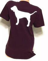 Victoria's Secret PINK Plum White Dog Logo Short Sleeve Pocket Campus T-shirt L