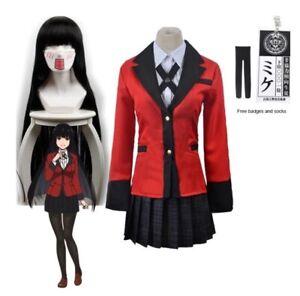 Jabami Yumeko Costume Anime Kakegurui Cosplay Gambler High School Uniform Wig
