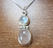 Moonstone and Rose Quartz Double Gem 925 Sterling Silver Necklace Corona Sun