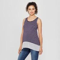MaCherie Maternity Sleeveless Printed Polka Dot Hem Striped Top Navy/White sz L