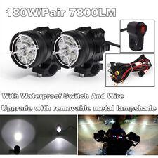 2PCS 180W 6500K 7800 LM Aluminum Alloy 9 CREE Chips LED Motorcycle headlights