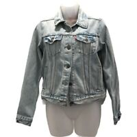 Levis Womens Cropped Jean Trucker Jacket Denim Buttons Flap Pockets Collared S