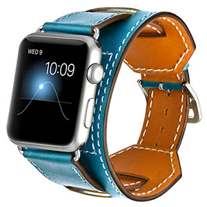 BLUE PREMIUM GENUINE LEATHER Cuff Strap Band for Apple Watch iWatch 38mm / 42mm