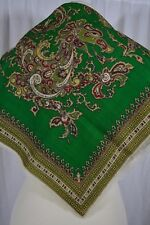 VINTAGE Indian bright green paisley hand printed wool scarf