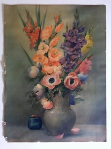 "W.E. POWELL ""GLADIOLI"" RARE VTG 1937 ART DECO FLORAL COLOR LITHOGRAPH ART PRINT"