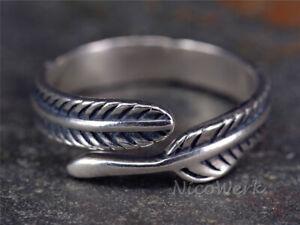 Silberring Feder Vintage Schmal Geschwärzt Ring Silber 925 Verstellbar Offen