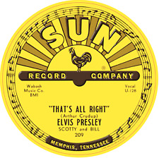 SUN RECORDS ELVIS PRESLEY THATS ALRIGHT VINYL STICKER LABEL 85mm QUALITY