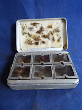 A VINTAGE ALLCOCK POCKET WINDOWED DRY FLY TIN + FLIES