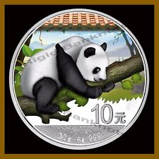 China 10 Yuan 30g Silver colored (color) Coin BU, 2016 Panda + Info Card