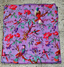 Queen Patchwork Kantha Quilt In purple Handmade Cotton Kantha Throw blanket