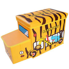 Kids Toy Storage Box Collapsible Toy Chest Storage Organizer Safari Bus Boy Girl