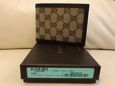 Gucci Double G Logo Guccisima Canvas Mens Wallet Brown Beige NEW