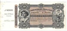 URUGUAY, 10 PESOS, P#242r, W/uncut stub attached to the note, 1883, RARE