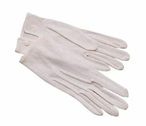 White Parade Gloves 100% Cotton with Snap - Sizes XSMALL to 2XL