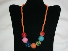 "HAND PAINTED WOOD BEADED RHODIUM GOLD  NECKLACE  HAND PAINTED JEWELRY  18""-20.5"""