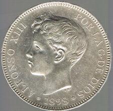 ESPAGNE - MONNAIE ARGENT - ALFONSO XIII - 5 PESETAS 1898 (98) S.G  .V.