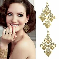 Gold coloured cut out alloy lace leaf flower chandelier earrings