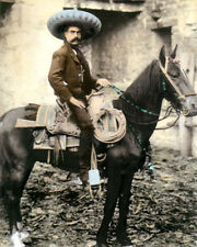 "EMILIANO ZAPATA SALAZAR MEXICAN REVOLUTIONIST 8x10"" HAND COLOR TINTED PHOTOGRAPH"
